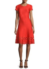 St. John Collection Laser-Cut Knit Short-Sleeve Dress