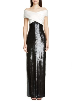 St. John Collection Layered Sequin Silk Georgette Gown