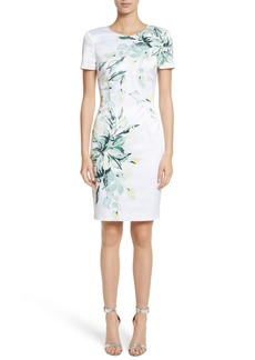 St. John Collection Leaf Print Sheath Dress