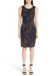 St. John Collection Leafed Copper Jacquard Sheath Dress