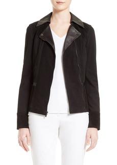 St. John Collection Leather & Ponte Knit Moto Jacket