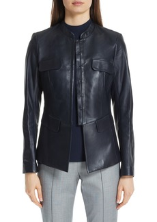 St. John Collection Leather Shirt Jacket