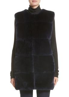 St. John Collection Leather Trim Genuine Rex Rabbit Fur Vest