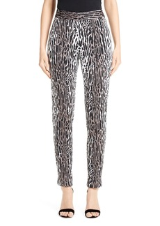 St. John Collection Leopard Jacquard Ankle Pants