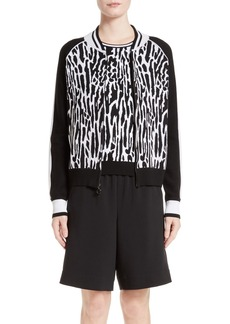 St. John Collection Leopard Jacquard Knit Bomber