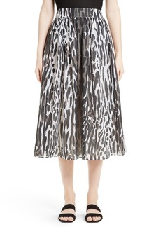 St. John Collection Leopard Print Midi Skirt