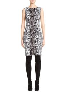 St. John Collection Leopard Stretch Jacquard Dress