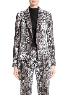 St. John Collection Leopard Stretch Jacquard Jacket