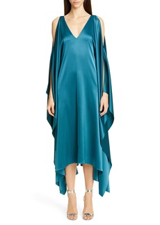 St. John Collection Lightweight Liquid Satin Cold Shoulder Midi Dress