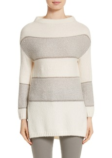 St. John Collection Links Knit Funnel Neck Sweater
