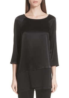 St. John Collection Liquid Satin Asymmetrical Blouse