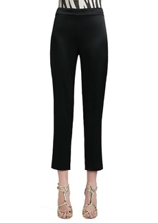 St. John Liquid Satin Side-Zip Cropped Pants