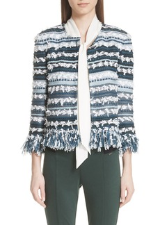 St. John Collection Lofty Flagged Stripe Knit Jacket