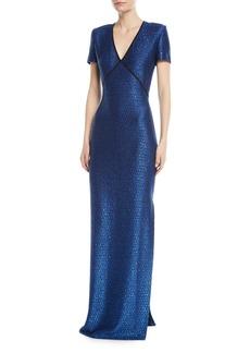 St. John Luster Sequin V-Neck Evening Gown