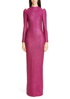 St. John Collection Luxe Long Sleeve Sequin Tuck Knit Gown