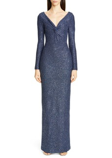 St. John Collection Long Sleeve Luxe Sequin Tuck Knit Gown