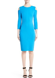 St. John Collection Luxe Sculpture Knit Cold Shoulder Dress