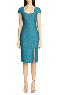 St. John Collection Luxe Sequin Tuck Knit Dress