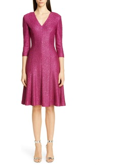 St. John Collection Luxe Sequin Tuck Knit Fit & Flare Dress