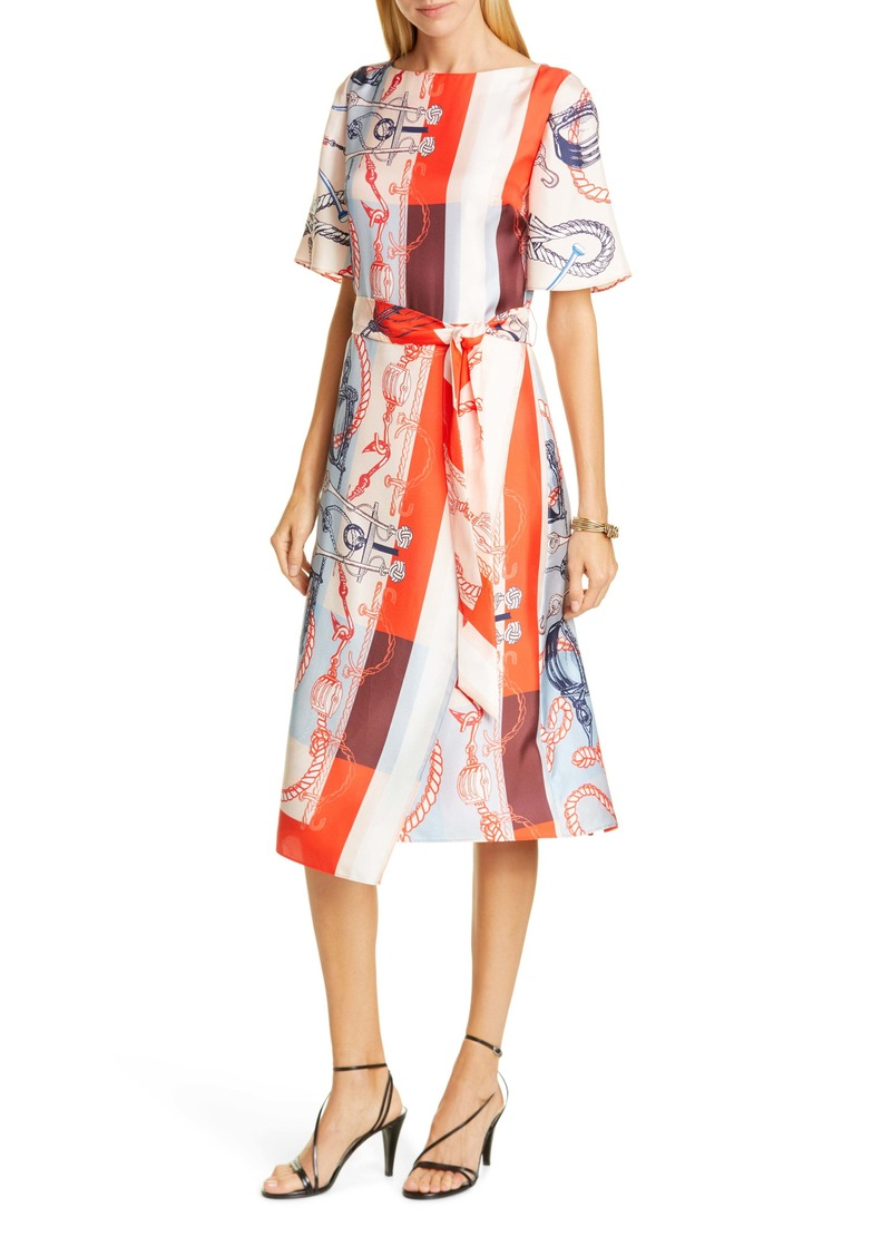 St. John Collection Mariner Print Silk Twill Midi Dress