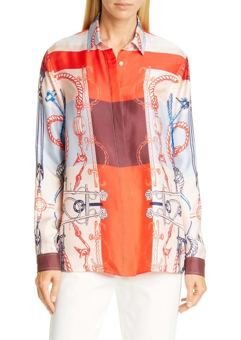 St. John Collection Mariner Scarf Print Silk Twill Shirt