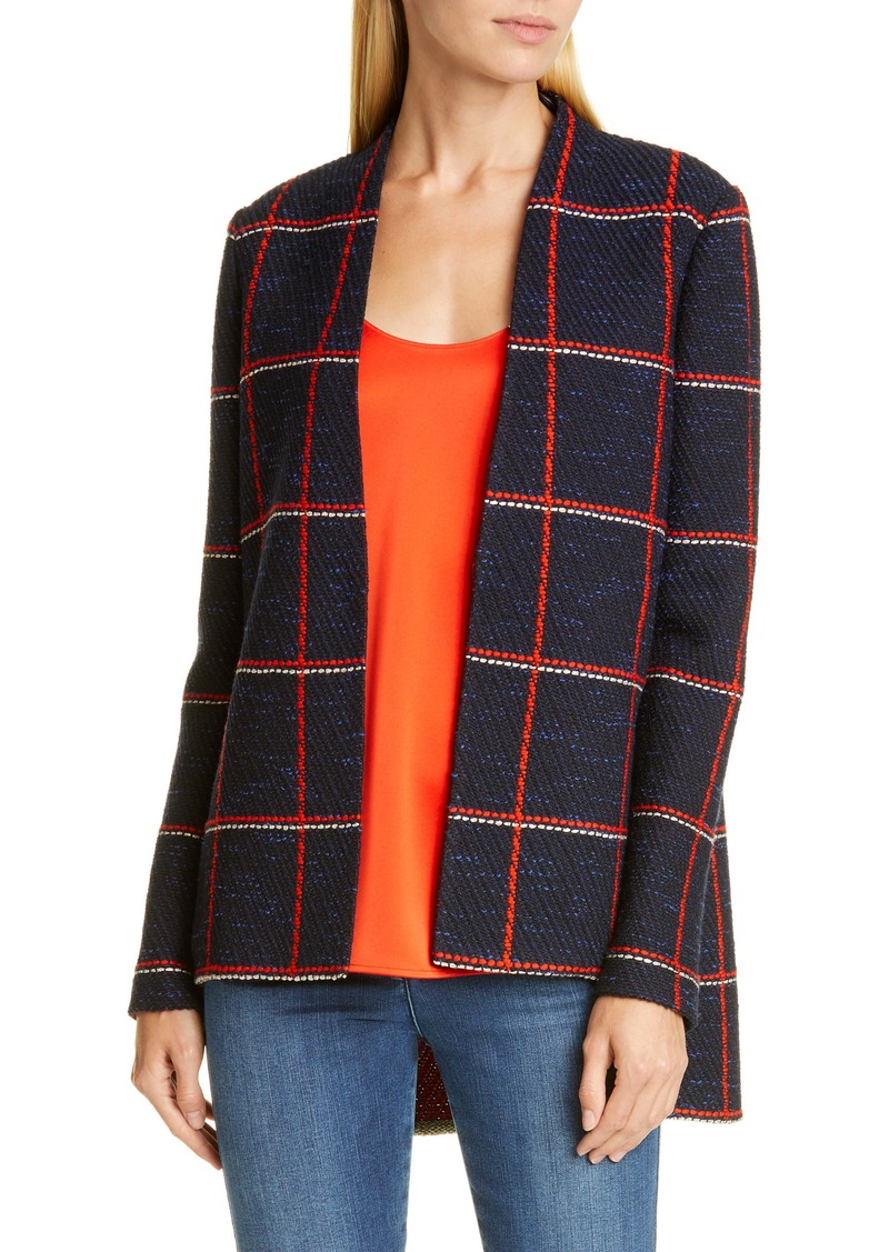 St. John Collection Maritime Plaid Knit High/Low Jacket