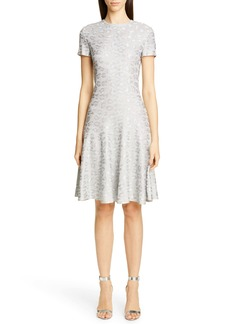 St. John Collection Metallic Animal Jacquard Knit Dress