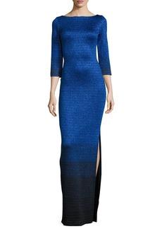 St. John Collection Metallic Degrade Peekaboo 3/4-Sleeve Gown