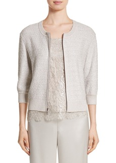 St. John Collection Metallic Eyelash Knit Jacket