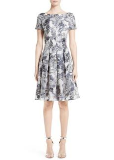 St. John Collection Metallic Floral Fil Coupé Dress