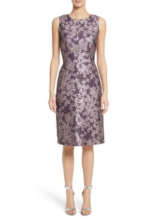 St. John Collection Metallic Floral Jacquard Dress