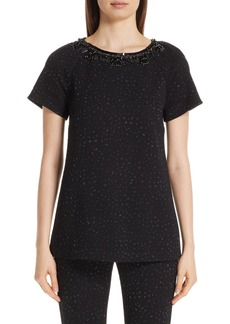 St. John Collection Metallic Jacquard Embellished Top