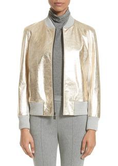 St. John Collection Metallic Leather & Knit Bomber Jacket
