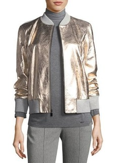 St. John Collection Metallic Napa Leather Bomber Jacket