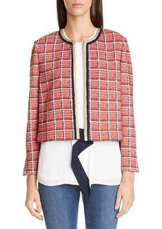 St. John Collection Metallic Plaid Knit Crop Jacket