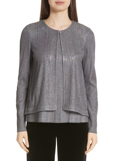 St. John Collection Metallic Plaited Knit High/Low Cardigan