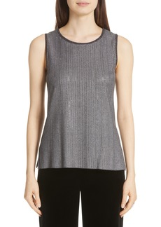 St. John Collection Metallic Plaited Knit Sleeveless Top