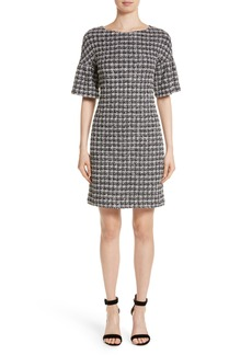 St. John Collection Metallic Tweed Bell Sleeve Dress