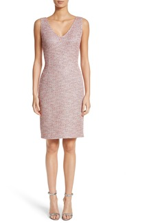 St. John Collection Metallic Tweed Sheath Dress