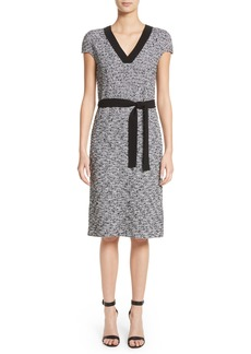 St. John Collection Micro Tweed Belted Dress