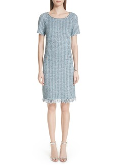 St. John Collection Microstripe Checked Knit Dress