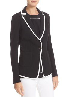 St. John Collection Milano Knit Jacket with Crêpe de Chine Binding