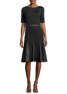 St. John Milano Knit Leather-Combo Dress