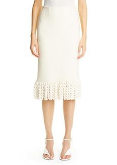 St. John Collection Mini Float Texture Maxi Fringe Skirt