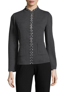 St. John Mockneck Lace-Up Jacket