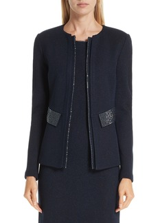 St. John Collection Mod Crystal Trim Knit Jacket