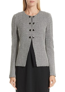 St. John Collection Mod Herringbone Knit Jacket