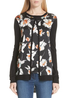 St. John Collection Modern Floral Hammered Satin & Jersey Knit Cardigan