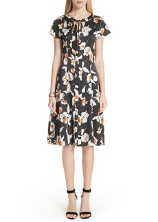 St. John Collection Modern Floral Hammered Satin Dress