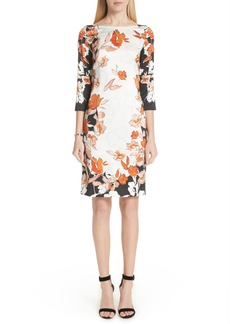 St. John Collection Modern Floral Print Stretch Silk Dress